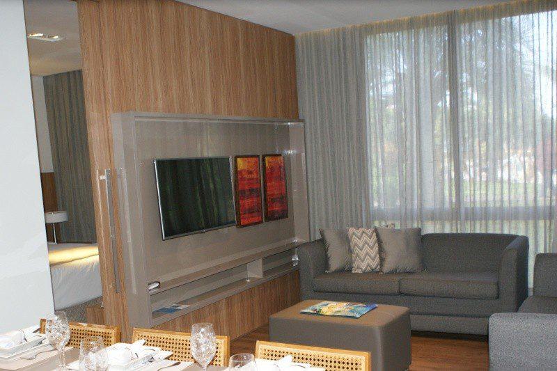 Apartamento decorado com capacidade para acomodação de até 6 pessoas