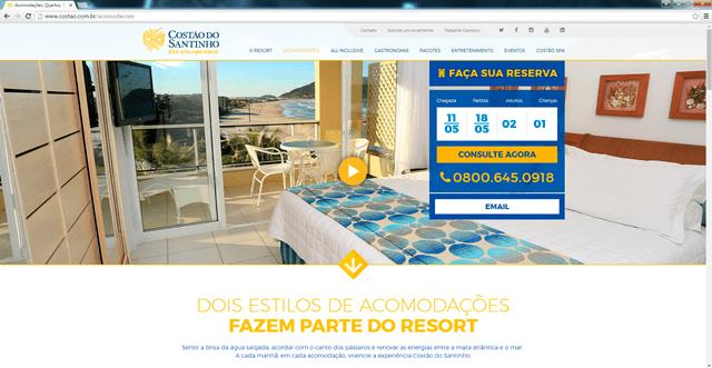 Resort Costão do Santinho lança novo site em versões desktop e mobile