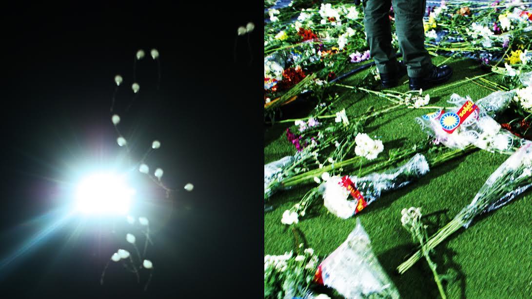 (Balões percorreram o céu. Flores foram atiradas no gramado. Tais gestos solidificaram a generosidade humana em toda sua potência. Foto: Marcos Vinícius Sokabe Ribeiro)