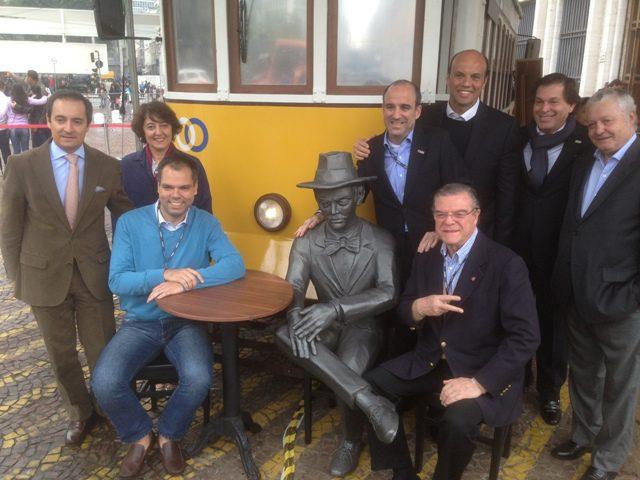 Representantes da Prefeitura de SP, do TAP e do Turismo de Portugal (Foto: Lucas Kina)