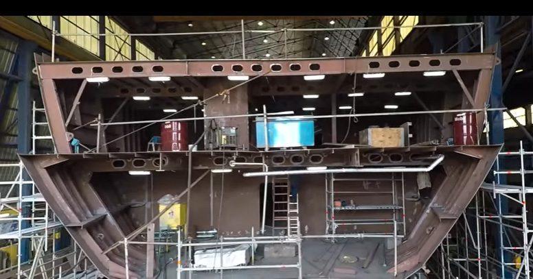 O Ventus deixou o estaleiro da Asenav, em Valdívia (Chile) e agora se encontra na fase de acabamento com instalação de equipamentos internos (Imagem Youtube)