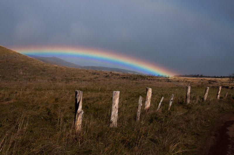 Ao sairmos da caverna, as nuvens que vieram do oceano já haviam passado, atravessado a ilha, indo para sudoeste e deixando como rastro um indescritível arco-íris