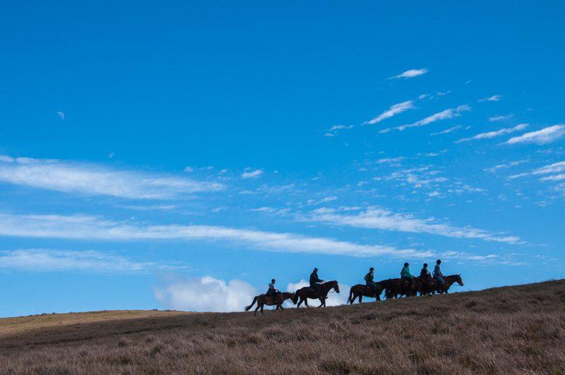 A velocidade da subida é moderada e os guias sabem como manter os cavalos tranquilos assim como os cavaleiros debutantes, ou nem tanto