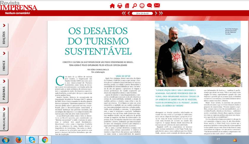 Paulo Atzingen fala sobre sustentabilidade na Revista Imprensa de Janeiro