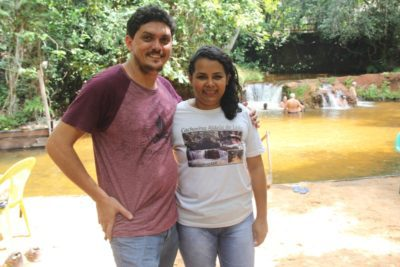 Bruno Braga e Erly Torres, do Camping Cachoeira do Leão
