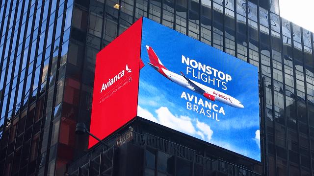 Avianca Brasil é destaque nos painéis luminosos da Times Square
